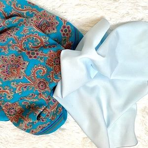 EUC Pair of Blue Silk Square Scarves 1 Hand-Rolled